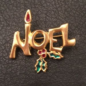 Vintage Gold NOEL & Holly Holiday Christmas Brooch